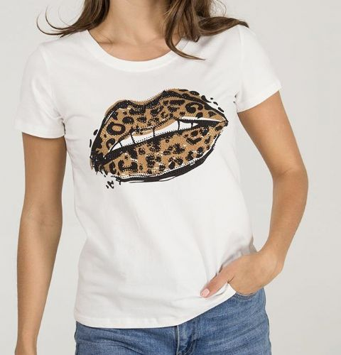 Roxy Leopard  Lips Diamanté  T-Shirt